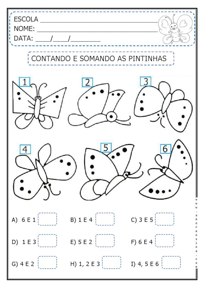 contando e somando as pintinhas das borboletas