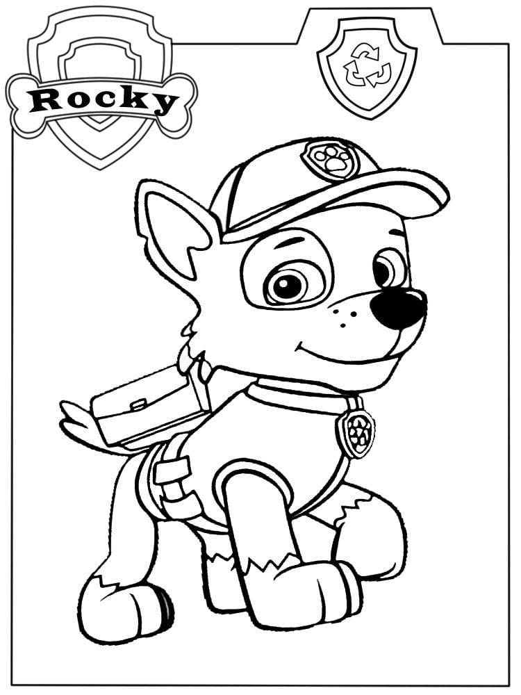 desenho colorir patrulha canina rocky