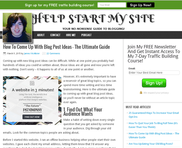 How to start a successful blog with james