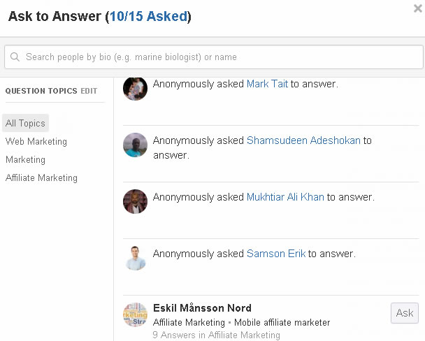 quora ask 15 people to answer