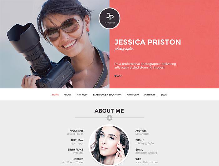 Photographer CV WordPress Theme