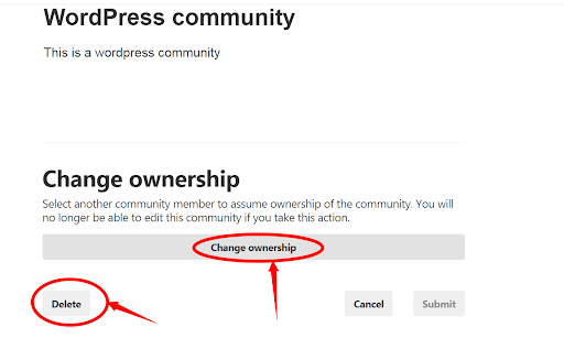 change ownership of pinterest community