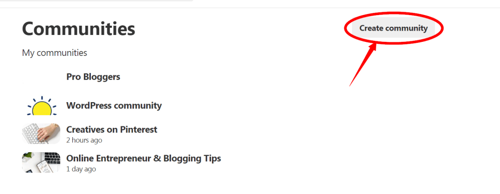 pinterest create community button