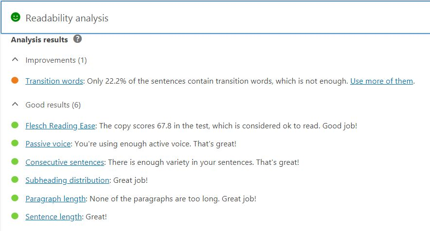 yoast readability test results