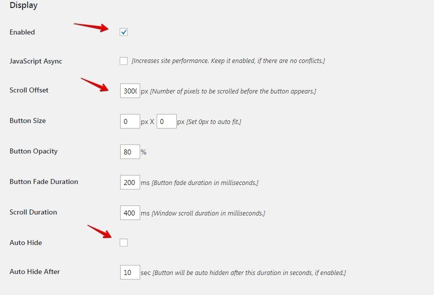 WP scroll top plugin settings