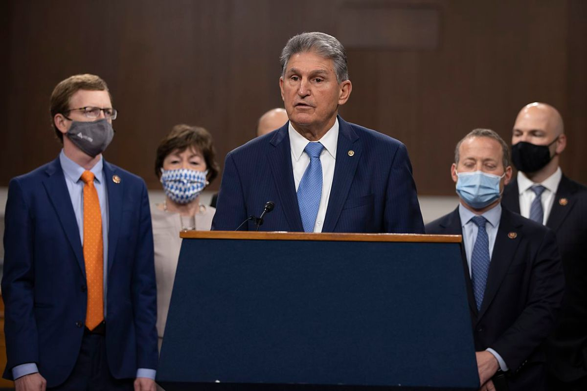 U.S. Sen. Joe Manchin, D-W. Va., speaking at December 2020 press conference, won approval of an amendment to keep stimulus payments away from higher-income taxpayers.