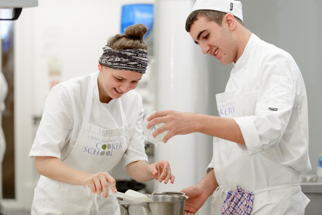Trainee chefs learning how to cook at Edinburgh New Town Cookery School