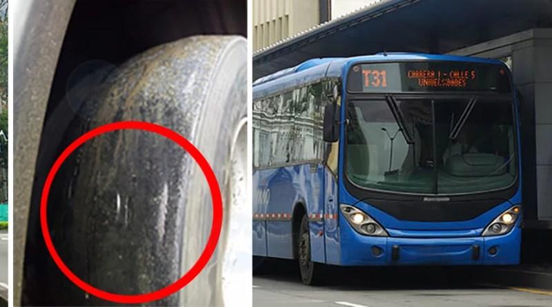 Algunos buses del MIO salen con llantas en pésimo estado.