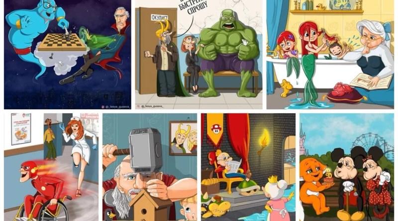 Ilustraciones geniales de nuestros personajes favoritos siendo viejitos