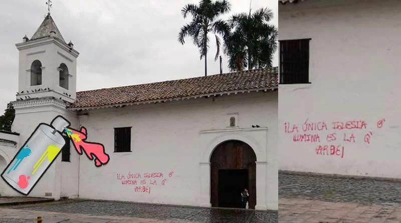 Poco duró el graffiti intolerante que pintaron en la Iglesia La Merced.jpg