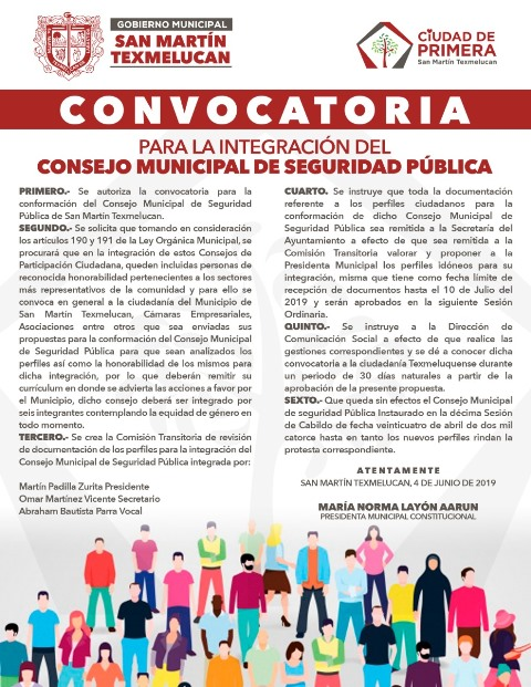 GOBIERNO MUNICIPAL EMITE CONVOCATORIA PARA LA INTEGRACIÓN DEL CONSEJO MUNICIPAL DE SEGURIDAD PÚBLICA EN TEXMELUCAN