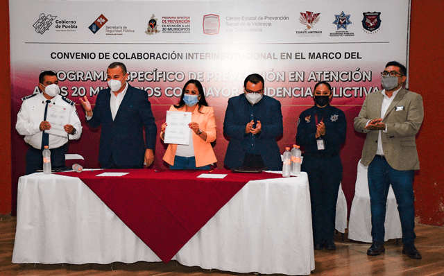 FIRMA AYUNTAMIENTO DE CUAUTLANCINGO, CONVENIO DE COLABORACIÓN CON LA SSP, EN MATERIA DE PREVENCIÓN DE INCIDENCIA DELICTIVA, CON LA SSP