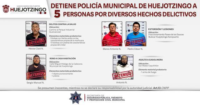 EN DIVERSAS ACCIONES DETIENE POLICÍA MUNICIPAL DE HUEJOTZINGO A 5 PRESUNTOS DELINCUENTES