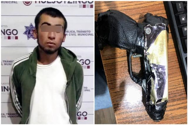 ASEGURA POLICÍA MUNICIPAL DE HUEJOTZINGO A PRESUNTO RESPONSABLE DE PORTACIÓN ILEGAL DE ARMA DE FUEGO