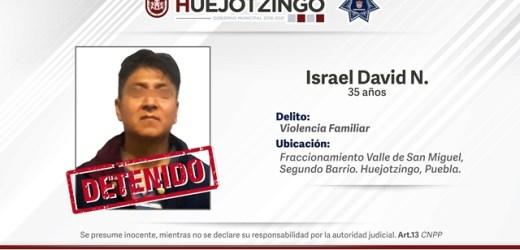 POLICÍAS MUNICIPALES DETIENEN EN HUEJOTZINGO A PRESUNTO RESPONSABLE DE VIOLENCIA FAMILIAR