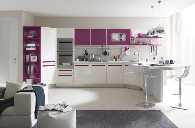 Koja boja zida odgovara ljubiastobijeloj kuhinji