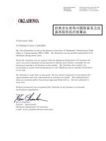 Certificate in State of Oklahoma - ODOC