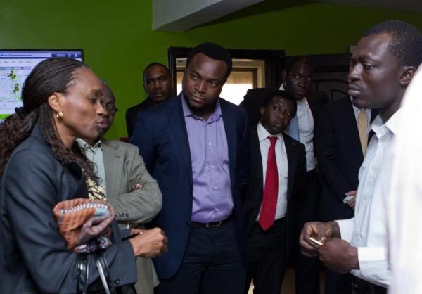 Nigeria ICT Minister Omobola Johnson addressing Oluseun Onigbinde at CcHub