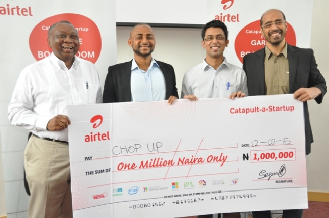 L-R: Tomi Davies, Chairman and Founder Mobile Monday; Zubair Abubakar, Co-Founder/CEO Chop Up; Roht Arora, Assistant Marketing Manager Airtel and Nitin Anand, Vice President, Data Products and Services