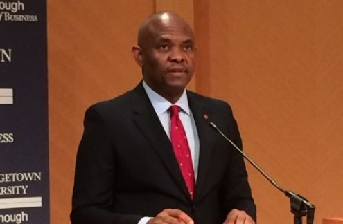 Tony O. Elumelu delivering a speech at Georgetown University, Washington D.C.