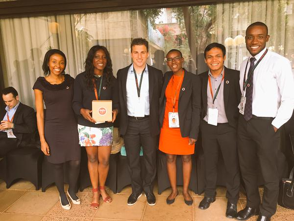 Ally Angula with Airbnb CEO and others at GES 2015