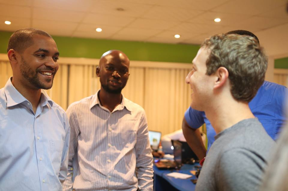 Hotels.ng founder Mark Essien and VacantBoards CEO Alao Tunji with Mark Zuckerberg