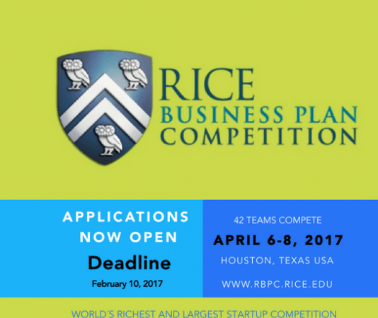 Apply for business plan competition; over $1.5m to be won