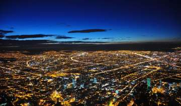 Bogota's skyline at night; 3,000 cameras have been installed, backed withe dge computing, to monitor the streets