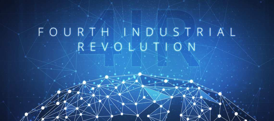Fourth industrial revolution on hud banner.