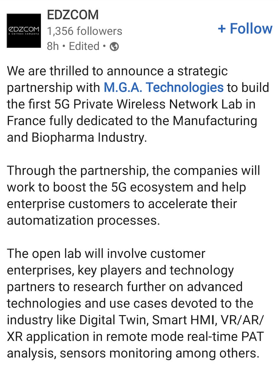 Edzcom installs 5G at machine maker MGA's Industry 4.0 biopharma lab in France