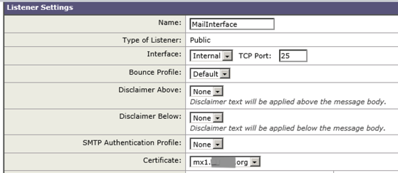 Ironport Listener Settings