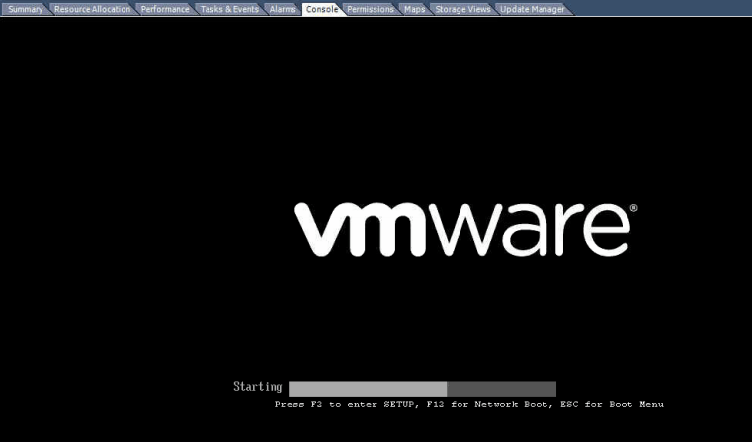 Guest hangs at 'Starting' on VMWare BIOS splash screen - [SOLVED