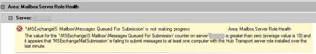 """""""MSExchangeIS MailboxMessages Queued For Submission' is not making progress The value for the 'MSExchangeIS MailboxMessages Queued For Submission' counter on server SERVERNAME is greater than zero (average value is 10) and it appears that 'MSExchangeMailSubmission' is failing to submit messages to at least one computer with the Hub Transport server role installed over the last minute."""