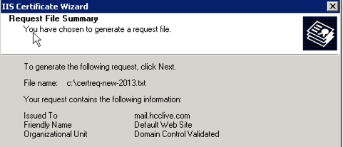 confirm generating certificate request IIS 6