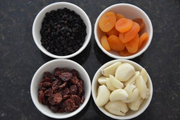 The dried fruit and garlic