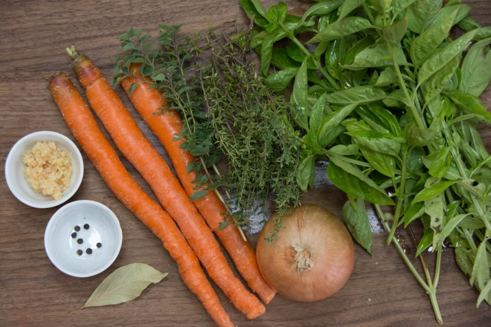 The vegetables and herbs