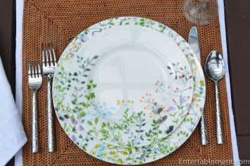 The salad plate has a clear space up toward one end