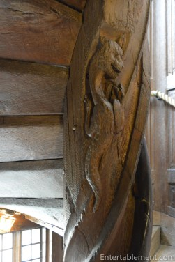 With a salamander carving at the top