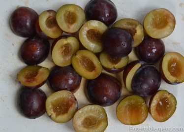 Slice each plum in half and pop out the pit