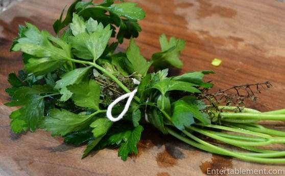 Tie up the herb bundle