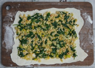Spread the spinach mixture over the puff pastry and roll up