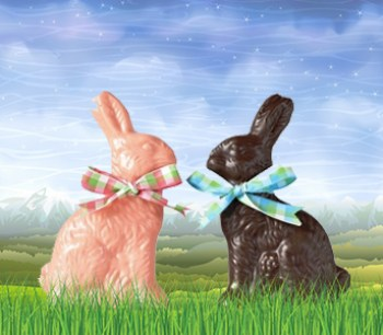 chocolate easter bunnies with bows