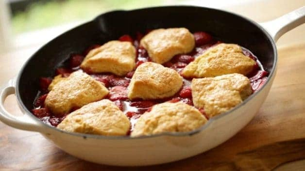 Strawberry Cobbler with Heart Biscuits
