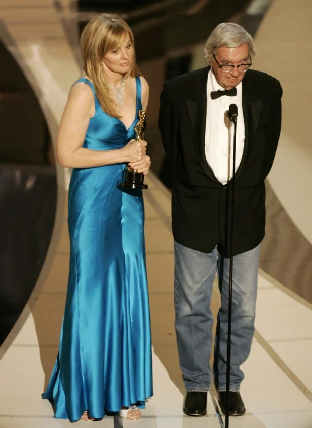 Writers Ossana and McMurtry accept the Oscar for best adapted screenplay for Brokeback Mountain at the 78th annual Academy Awards in Hollywood