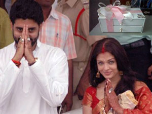 Aishwarya and Abhishek and the pink sweet box sent to the media