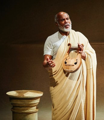 Homer (Raphael Nash Thompson) speaks in modern English in 'The Guard,' but it works. After all, ancient Greek was modern Greek back then.
