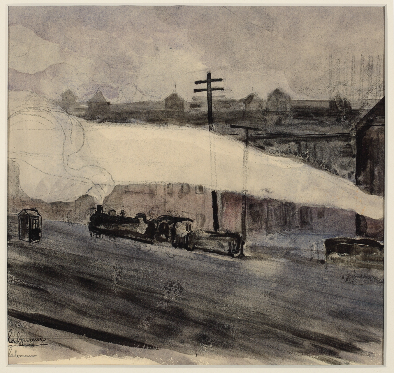 """Jean-Emile Laboureur (French, 1877–1943), """"The Locomotive Depot"""" 1905. Watercolor, 8 1/2 x 8 3/4 in. Collection of Sheryl and Bruce Wolf."""