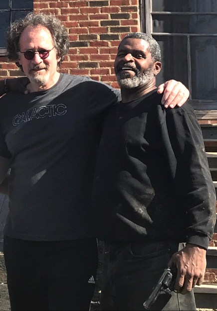 Put down that gun: Fight choreographer Randy Kovitz (L) coaches Wali Jamal, as Elmore, in 'King Hedley II.'