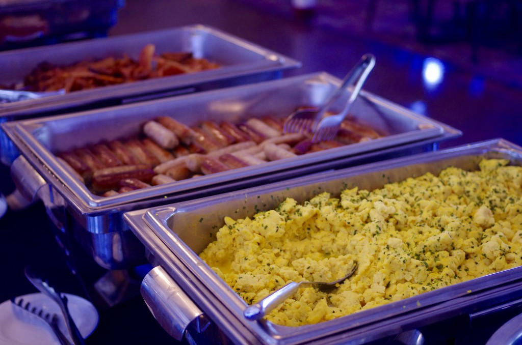 The buffet on the Gateway Clipper Brunch Bruise included traditional breakfast fare as well as hot ham, vegetables, salads, pancakes and French toast.