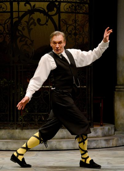 Malvolio (Brent Harris) thinks he cuts a dashing figure but he's been tricked into dancing with the sharks.